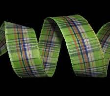 "5 Yards Green Blue Orange White Plaid Wired Ribbon 1 1/2""W"