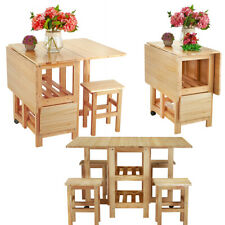 Solid Wooden Folding Drop leaf Butterfly Dining Table and 4 Chairs Set Compact