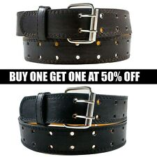 Men's Classic Casual Dress Genuine Leather Belt Metal Buckle Brown Black M L XL