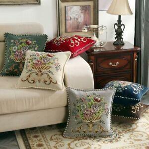 Retro Floral Cushion Cover Home Decor Embroidery Pillow Case Throw Sofa Cover