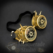 Mens Steampunk Spiked Goggles Crazy Eyes Costume Masquerade Accessory [Gold]