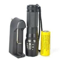 Tactical 5000LM Powerful XM-L T6 LED Zoomable Flashlight Torch +26650+Charger Z