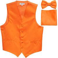 New Men's Orange formal vest Tuxedo Waistcoat_bowtie & hankie set wedding prom