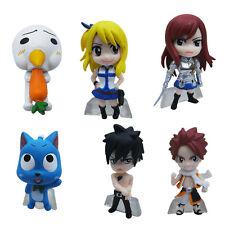 "Fairy Tail Natsu Lucy Erza Gray 1.2""-2"" / 3cm-5cm Mini PVC Figure Set Of 6pcs"