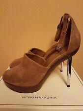 BCBG Maxazria Camel Suede Leather Steel Heel Sandals US 10