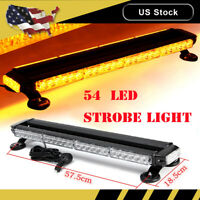 """26"""" Amber 54 LED Emergency Warn Flash Strobe Light Bar Beacon Traffic advisor"""