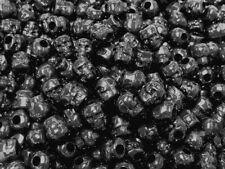 Opaque Black Skulls Pony Beads made in USA Halloween crafts paracord jewelry