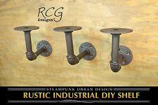 """Three 4x4"""" L Brackets DIY Pipes (8""""-10"""" deep shelf) urban steampunk rustic decor"""