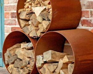 Corten Steel Log Store Circle/Modular/Metal/Cor-Ten/Logs Firewood Storage/UK
