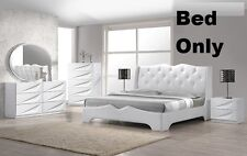 White Modern 1 Pc Bedroom Queen Size Bed In Leather Exterior Headboard