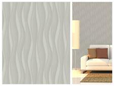 Grey Metallic Wave - 3D Effect Wallpaper - Smooth Feature Wall Decor - 20503