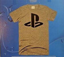 Mens Sony Playstation Logo T-shirt grey with Sony PS logo Size Large Makerwear