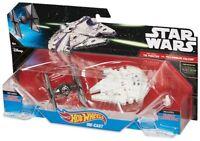 Star Wars TIE FIGHTER vs MILLENNIUM FALCON Hot Wheels Starships New! Die Cast