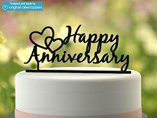 """Happy Anniversary"" - Black - Wedding Anniversary - Original Cake Topper"