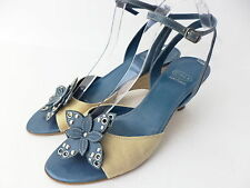 CIRCA JOAN & DAVID ROSEVILLE 8M TURQUOISE LEATHER & TAN ANKLE STRAP SANDAL SHOE