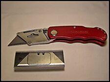 Folding Razor Knives New Red Lock Back Extra Blades W/Pocket Clip Box Cutter Cut