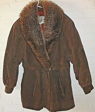 J Percy Marvin Richards Women's M Brown Leather Jacket Coat Raccoon Fur Shawl Vg