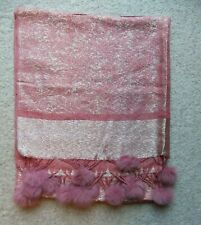 Brand New – Pink and Gold Pashmina with pink pom poms