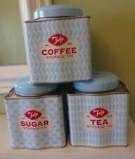 3 TALA BRIGHTS ORIGINALS BLUE TEA COFFEE SUGAR CANISTERS STORAGE TINS