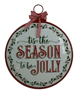 Pair Of Hand Painted Round Hanging Christmas Wall Sign Picture Decoration Xmas