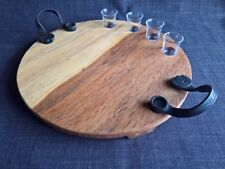 Cheese meat board platter tray serving round wood man cave