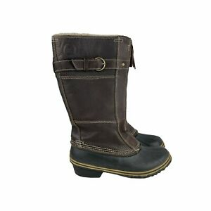 Sorel Women's Fancy Tall  NL2021-242 Brown Leather Boots Size 9