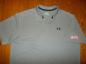 UNDER ARMOUR HEAT GEAR SHORT SLEEVE GRAY POLO SHIRT MENS 2XL EXCELLENT CONDITION