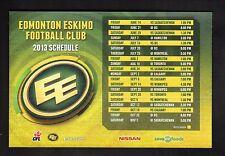 2013 Edmonton Eskimos Magnet Schedule