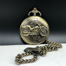 VINTAGE MOTORCYCLE POCKETWATCH solid brass Japan with chain pocket watch bronze