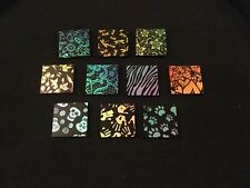 "Etched Dichroic Glass 90 COE Jewellery Pack/ Sample 10 pieces 1""x1"" Rare!!"