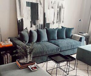 AMARIS Elements l 4 Sitzer Sofa dunkel blau Samt Stoff 4er Couch 265x106xH65cm