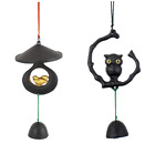 Japanese Nambu Cast Iron FURIN Wind Chime w/ Temple Bell Sparrow & Owl Set