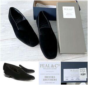 NIB Peal & Co. x Brooks Brothers Formal Black Velvet Slippers, 11.5 D Tuxedo