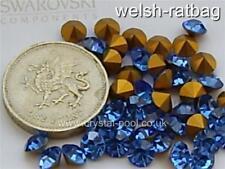 30 x Swarovski 26ss Sapphire gold-foiled #1 (#1100) chatons