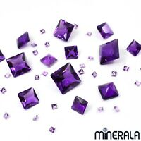 [WHOLESALE] PURPLE HYDROTHERMAL AMETHYST GEMSTONE SQUARE FACETED VARIOUS SIZES