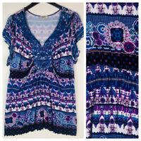 One World 1X 16 18 Top Tunic Shirt Blue Purple Sublimation Boho Flowy     G