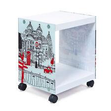 Beistelltisch London Cube Couchtisch Weiß Rollbar Beistelltisch Wohnzimmertisch