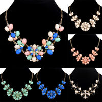 Women Bib Resin Crystal Flower Statement Chain Chunky Choker Necklace Jewelry