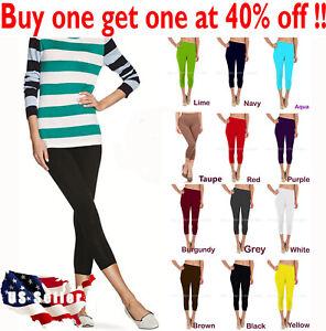 Womens capri leggings seamless skinny slim fit cropped solid yoga pants nylon