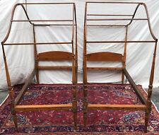 PAIR 18TH CENTURY SHERATON MAPLE CANOPY BEDS-TWIN SIZED RARE FOUR POSTER BEDS