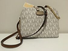 NWT MICHAEL KORS WOMEN'S VANILLA MK SIGNATURE CINDY DOME CROSS-BODY SHOULDER BAG