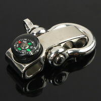 Paracord Bracelet Shackle W/ Compass Stainless Steel Adjustable Buckle Fine CW