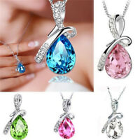 New Fashion Women Crystal Rhinestone Silver Chain Pendant Necklace Jewelry