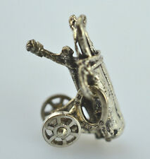 VINTAGE BEAU SMALL STERLING SILVER 3-D GOLF BAG CLUBS ON CART CHARM WHEELS MOVE