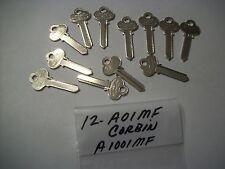 Locksmith LOT of 12, Key Blanks for CORBIN, A01MF, A1001MF, Uncut