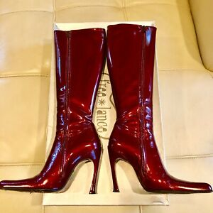 $1295 Free Lance Paris Boots Pointed-Toe Red Patent Leather Heels France 37  7