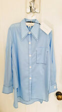 Ladies Zara Woman Shirt With Maxi Collar In Blue Size S BNWT RRP£39.99