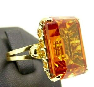 Vintage Ring Years 70 Big Made in Italy Gold Solid 18K Quartz Citrine