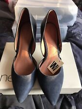 Next Navy Suede Leather Shoes Size 6 Wide Rrp £38