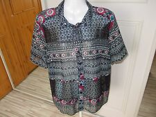 GEORGE POLYESTER SHEER BLACK FLORAL AND LACE BLOUSE SIZE 14 [ 5054065344666]